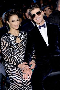 Paula Patton and GRAMMY nominee Robin Thicke at the 56th Annual GRAMMY Awards on Jan. 26 in Los Angeles
