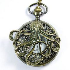 Steampunk octopus pocket watch locket necklace - Pirates of the Caribbean Necklace---SALE on Etsy, $7.99