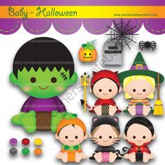 Instant Download Printable Clipart Clip Art Digital PDF PNG File - Happy Halloween Baby Boy Girl 1 from Wonderful Dreamland on TeachersNotebook.com -  (18 pages)  - baby boy, baby girl, Halloween, baby devil, baby black cat, baby pumpkin, baby witch, baby vampire