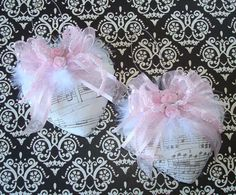 Music sheet hearts,pink ribbons and roses,white feathers-great gift!