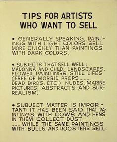 John Baldessari, Tips for Artists Who Want to Sell, 1966