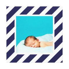 Custom Baby Photo and Striped Frame Nursery Art Canvas Print