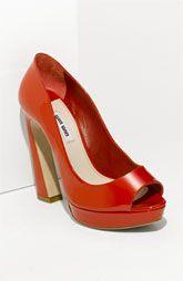 Miu Miu curved heel peep toe, love this color!