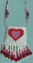 Heart-of-My-Heart Netted Pouch Pattern by Jeanette Shanigan at Bead-Patterns.com bead pattern, pouch pattern