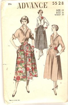 Misses Skirt and Blouse Pattern Bust 36 Advance by CherryCorners, $18.00