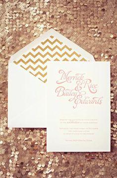 Gold Wedding Chevron Wedding Invitations