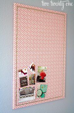 Fabric covered cork board care of Brooklyn Limestone