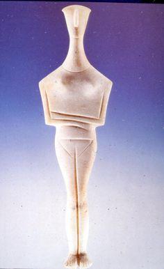 Statue. Examples of Cycladic sculpture L'art des Cyclades respecte des canons, des règles dans la figuration du corps. La statue peut être divisée en 4 parties égales : la tête et le cou, puis le torse, ensuite le ventre et les cuisses et pour finir les mollets et les pieds. De plus, l'envergure des épaules est 1/4 de la hauteur de la statue.