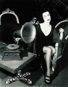Vampira and a phonograph.