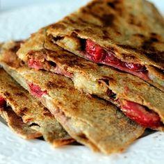 Award Winning Healthy Snacks (With Recipes) peanut butter , banana, strawberry quesadilla