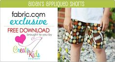Aidan's appliqued shorts pattern FREE pattern download exclusively for Fabric.com!