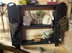 Nice old shelf with pegs to hang prim
