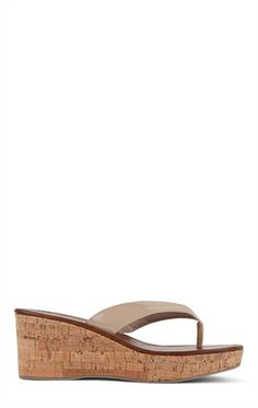 Deb Shops Small Cork Wedge Sandal with Thong Straps $25.90