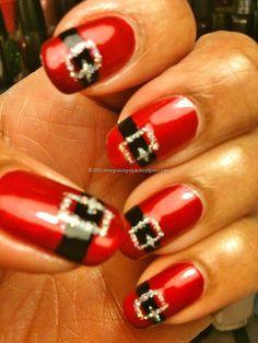 holiday nails, ring finger, santa baby, christmas nails, nail arts, belt, nail design, christmas nail art, nail idea