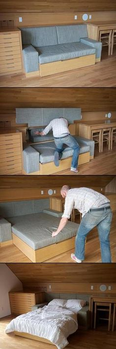 Great hideaway bed/couch design idea that you can use in a cabin, A-frame, or tiny house.. via... FB Tiny House Talk..     https://www.facebook.com/photo.php?fbid=740986445925365set=a.144253718931977.25018.117537014936981type=1theater | goplaceit.com