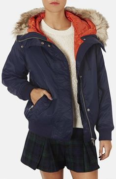 Topshop Hooded Bomber Jacket with Faux Fur Trim | Nordstrom