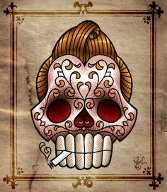greaser sugar skull artist unknown skulls skullart poster noir los    Greaser Sugar Skull