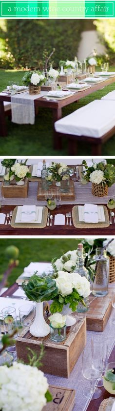 Great table decor for outdoor country dinner party