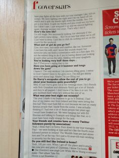 Page 9 of One Direction's interview in Fabulous Magazine.
