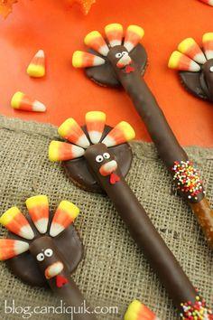 Turkey Pretzels , too cute!
