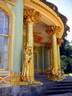 Chinese Tea House, Sanssouci, Potsdam, the former summer palace of Frederick the Great, King of Prussia  - up close n' personal