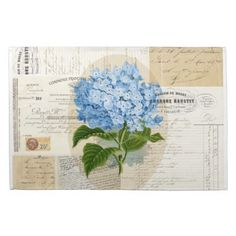 #Vintage Blue Hydrangea French Ephemera Towel