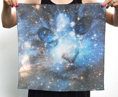 Cat Space Galaxy Nebula Print Silk Square Scarf. $50.00, via Etsy.