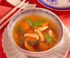 Dried shiitake mushrooms and fresh spinach make a full-flavored low-calorie soup.