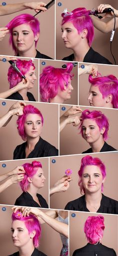 Victory roll for short hair tutorial. LOVE the pink!