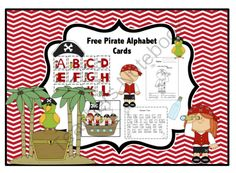 Free Pirate Alphabet Cards from Preschool Printables on TeachersNotebook.com -  (18 pages)  - Alphabet Cards