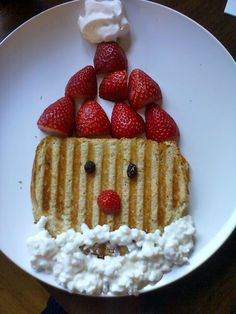 DIY Santa Grilled Cheese with Cottage Cheese Beard.