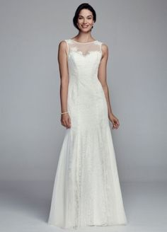 Lace Trumpet Gown with Illusion Neckline - Wedding Dresses by Galina - Loverly