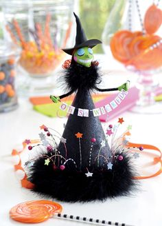 Oh-So-Wicked Witch Party Hat. Project from Glitterville's Handmade Halloween.