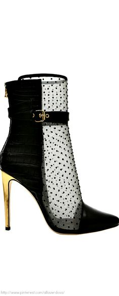 Crocodile  and black satin boots - Balmain
