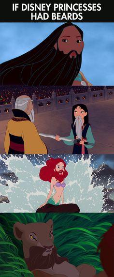 Funny Ariel | funny-princesses-beards-Mulan-Pocahontas-Ariel