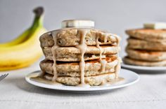 Whole wheat brown sugar banana bread pancakes.  Yes please.