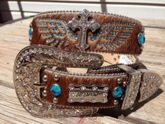 MED Western HAIR Leather Turquoise Cross Wings Brown Cowgirl Belt Rhinestone
