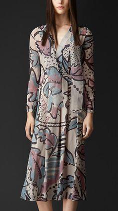 Burberry Prorsum Floral Print Layered Silk Smock Dress