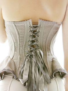 Pretty dove grey corset with satin ribbons