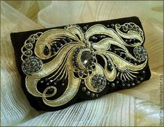 Telephone case (embroidery, goldwork, beads) by Elena Emelina, Russia