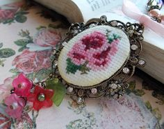 Victorian Rose NECKLACE Cross Stitch by Strength4theJourney, $35.00