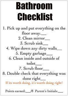Bathroom Checklist