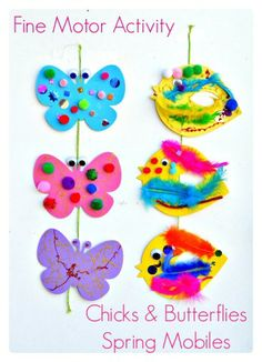 Spring Themed mobiles - fine motor activity spring crafts, theme mobil, kid