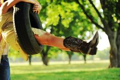 tire swing, cowgirl boots, cowboy boots, swings, country girls, black boots, senior pic, country boots, countri