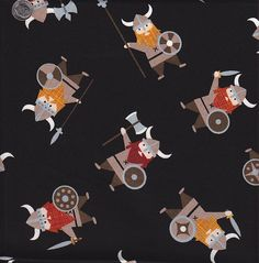 Timeless Treasures Organic Vikings on Black. $10.50.....We couldn't wait to get this fun viking fabric in, and to make it even better, it's organic! Check out the other cute fabrics from this line at quiltsandwich.etsy.com