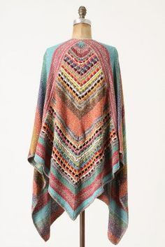 sweater, fashion, balkhash shawl, cloth, style, colors, anthropologie, ponchos tejidos a crochet, knit