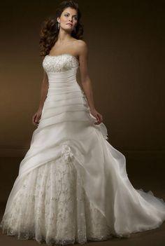 Gorgeous Organza A-Line Strapless Sleeveless Beading Floor-length Chapel Train Hot Sell Wedding Dress WL-0050