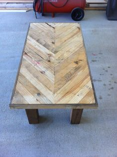 Chevron pallet board coffee table