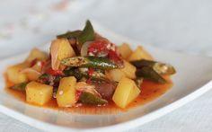 Potatoes and okra in sambal sauce #vegetarian #vegan