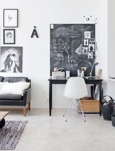 BLACK AND WHITE HOME IN CONVERTED FACTORY